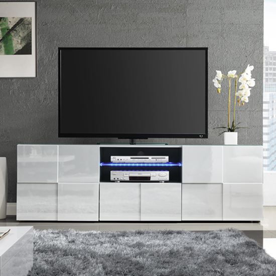 Aspen Modern TV Sideboard In White High Gloss With LED_2