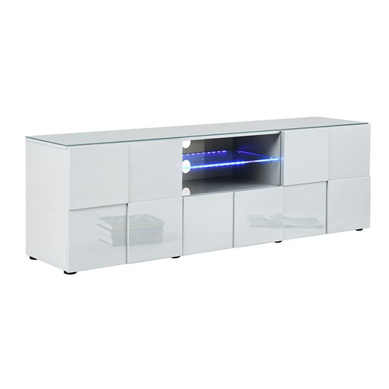 Aspen Modern TV Sideboard In White High Gloss With LED_3