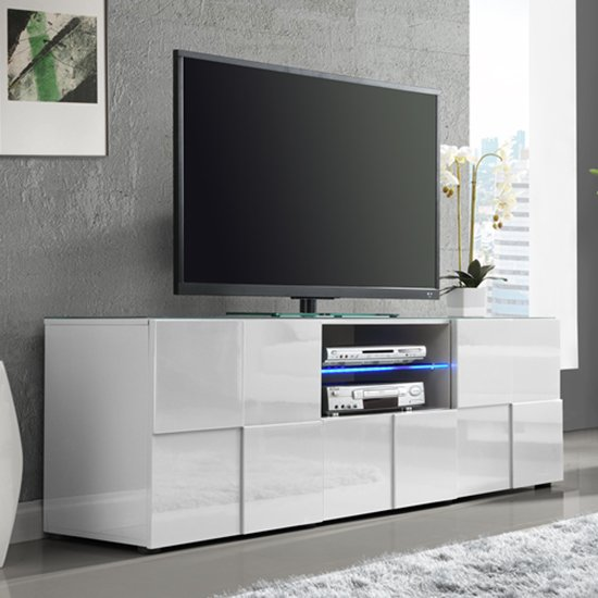 Aspen Modern TV Sideboard In White High Gloss With LED_1