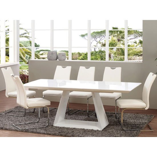 Danton glass extendable dining table in cream high gloss  : Asti6DT EXC from www.go-furniture.co.uk size 550 x 550 jpeg 54kB