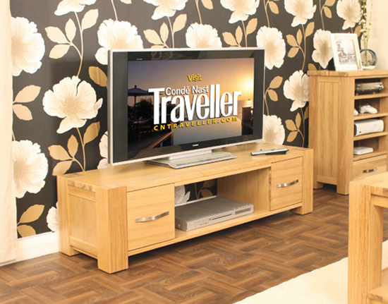 Aston Real Oak Widescreen Plasma Lcd TV Cabinet