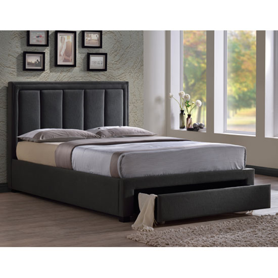 Atlanta grey fabric finish king size bed with drawer 22823 - King size bedroom sets in atlanta ga ...