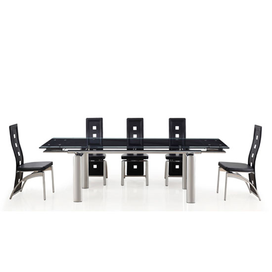 Atlanta Black With Clear Border Glass Dining Table And 8 Chairs