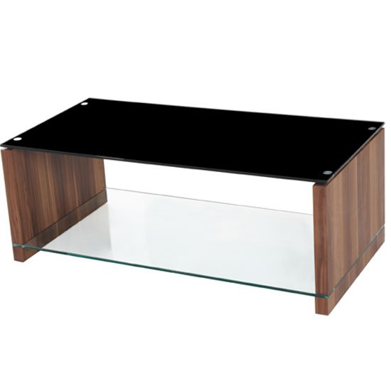 Atlanta Black Gl Coffee Table With Underself And Walnut Leg