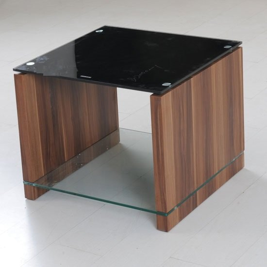 Atlanta black glass end table with underself and walnut leg Black glass side tables for living room