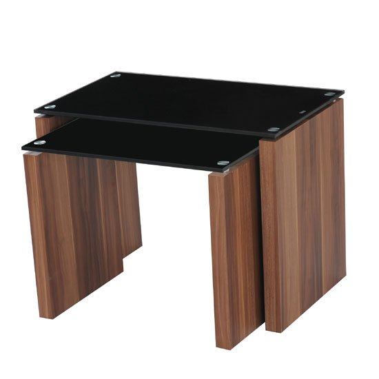 Atlanta Black Glass Nest of Tables in Walnut Finish Leg