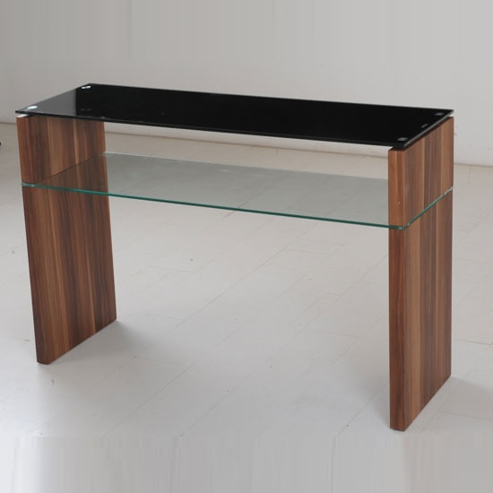 Atlanta Black Gl Console Table With Underself And Walnut Leg