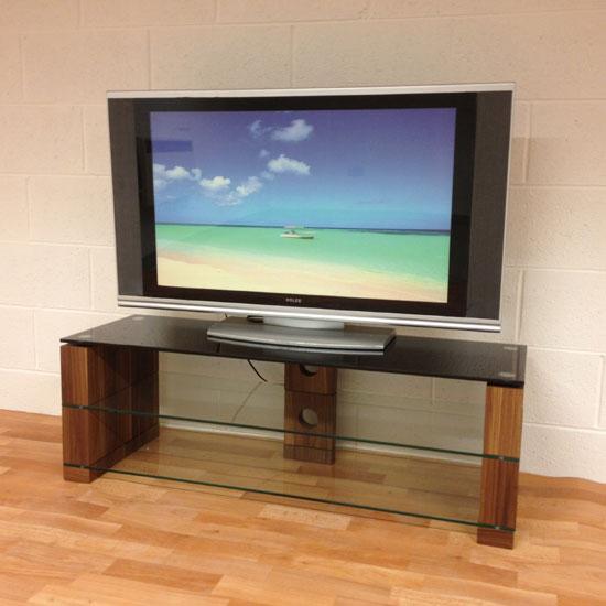 Atlanta Black Glass Tv Stand With Glass Shelf And Walnut Leg