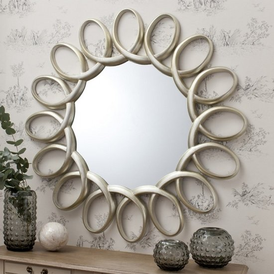 Read more about Alexia swirling wall mirror round in silver frame