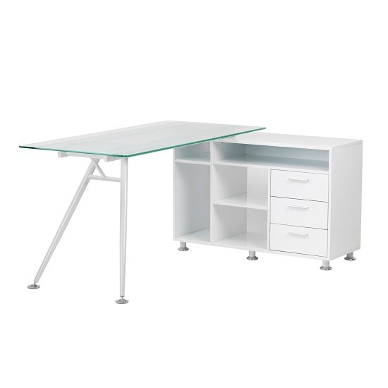 valencia corner glass computer desk in frosted with satin