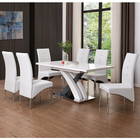 Axara Extendable Dining Table In White With 6 Vesta White Chairs_1