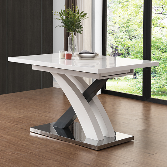 Axara Large Extendable Dining Table In White And Grey High Gloss_2