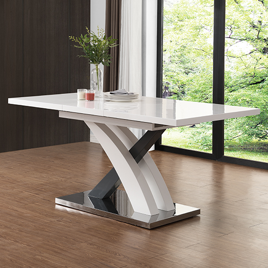 Axara Large Extendable Dining Table In White And Grey High Gloss_3