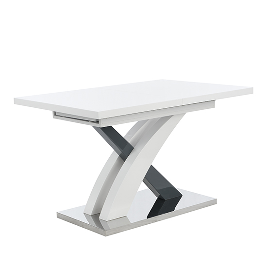 Axara Large Extendable Dining Table In White And Grey High Gloss_6