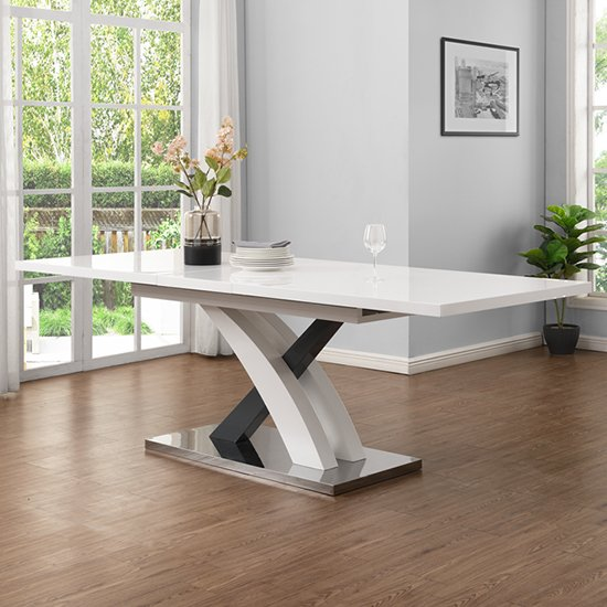 Axara Large Extendable Dining Table In White And Grey High Gloss_1