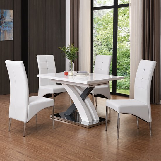 Axara Small Extendable White Grey Gloss Dining Table 4 Chairs_1