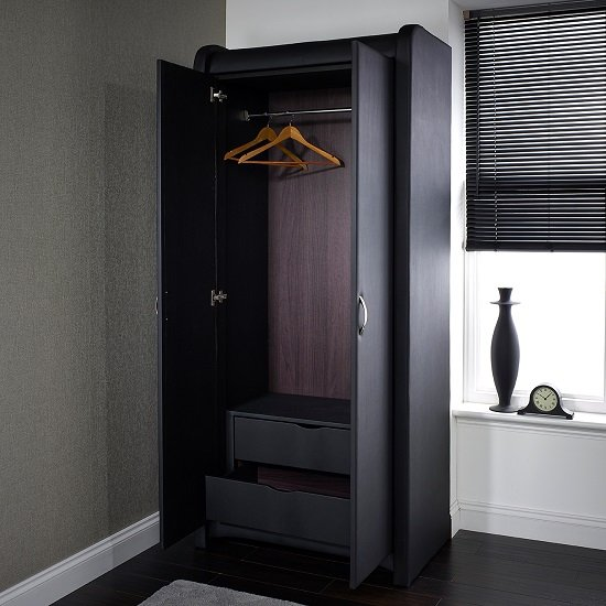 Azari Wardrobe In Black Faux Leather With 2 Doors_2