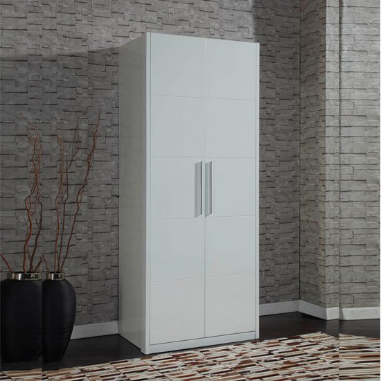 Wardrobes Zeta White High Gloss 2 Door Wardrobe