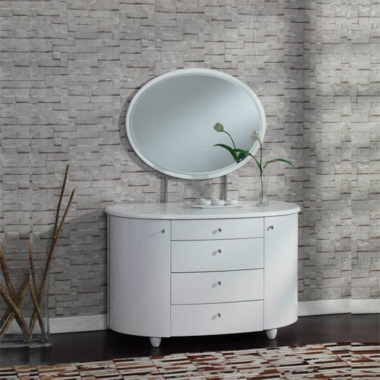 Zeta 4 Drawer Dresser With Mirror in White High Gloss