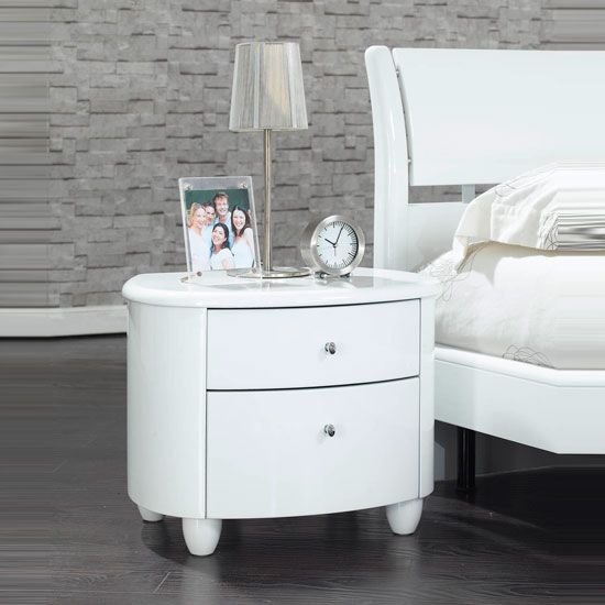 Zeta bedside table night stand in white high gloss 10595 for White gloss bedroom furniture