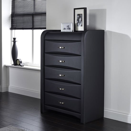 Azari Chest Of Drawers In Black Faux Leather With 5 Drawers