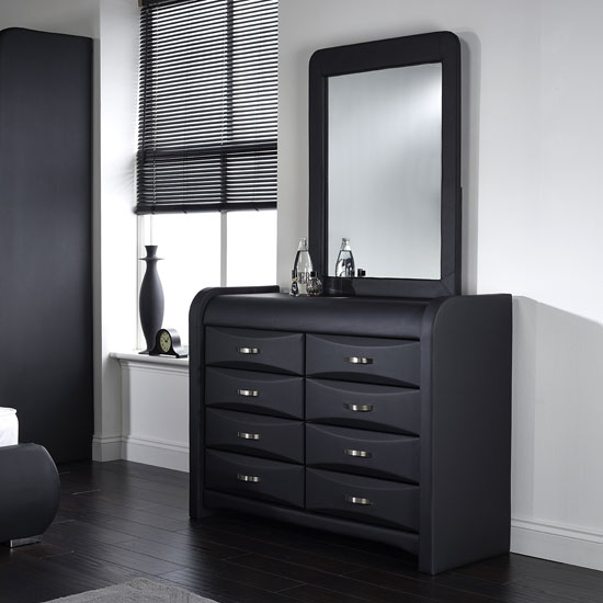 Azari Dressing Table With Mirror In Black Faux Leather Click To Enlarge