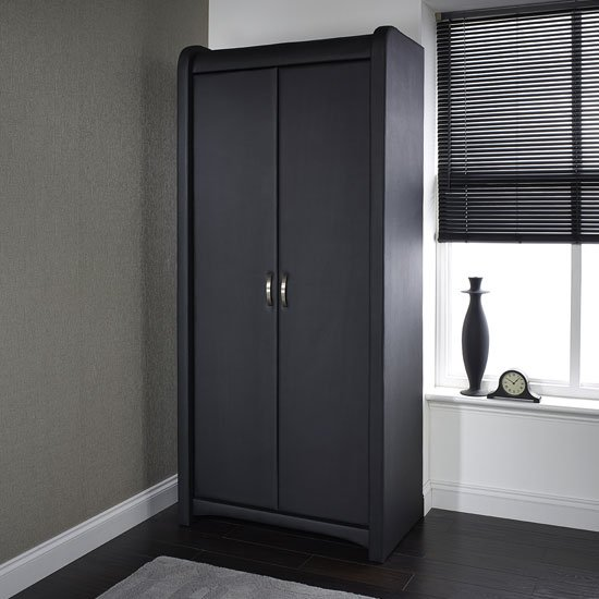 Azari Wardrobe In Black Faux Leather With 2 Doors_1
