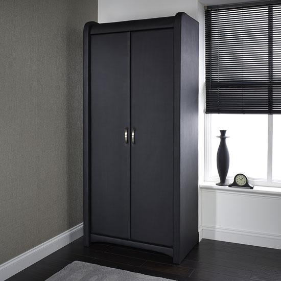 Azari Wardrobe In Black Faux Leather With 2 Doors_1