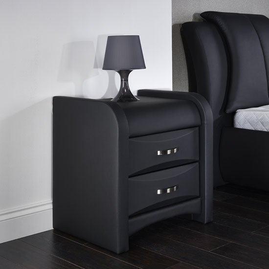 Azari bedside cabinet in black faux leather with 2 drawers 14995 azari bedside cabinet in black faux leather with 2 drawers 14995 go furniture watchthetrailerfo