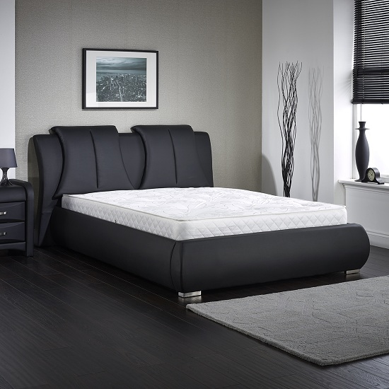 Azari Double Bed In Black Faux Leather