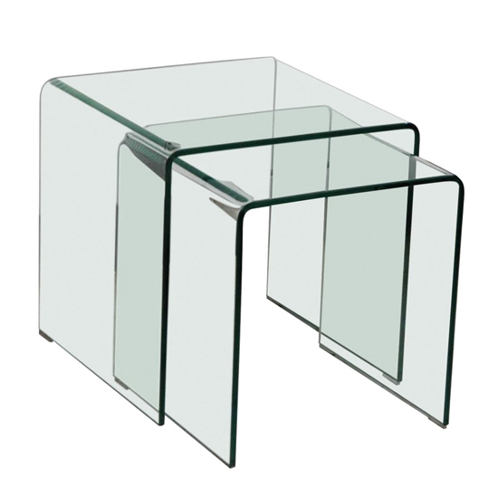 Azurro Set Of 2 Glass Nesting Tables