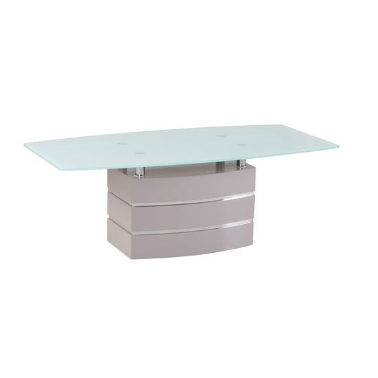 Crystal White Glass Top Coffee Table With High Gloss Base
