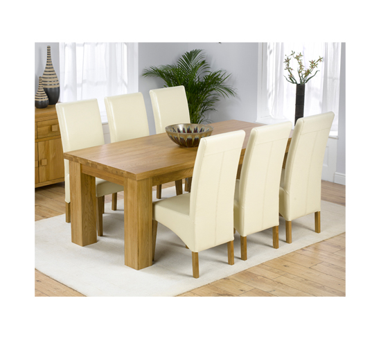 Daniela Solid Oak Dining Table And 6 Leather Chairs In