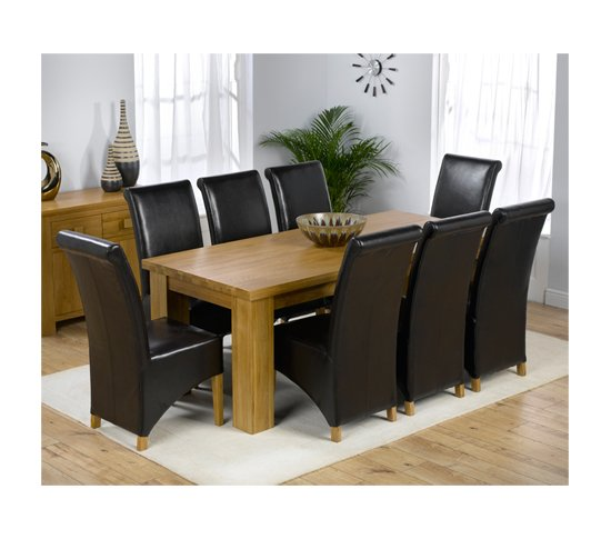 Oak Wood Table And Chairs: Daniela Solid Oak Rectangle Dining Table And 8 Leather