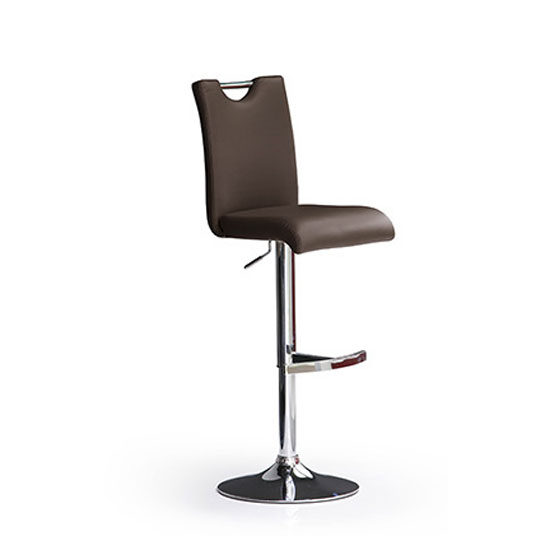 Bardo Brown Bar Stool In Faux Leather With Round Chrome Base