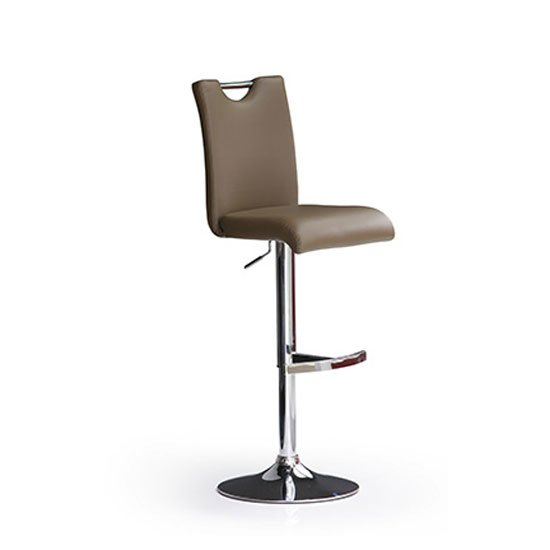 Read more about Bardo cappuccino faux leather bar stool with round chrome base