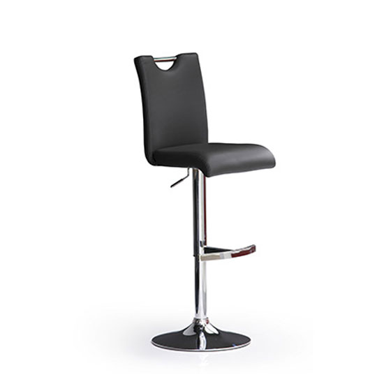 Bardo Black Bar Stool In Faux Leather With Round Chrome Base