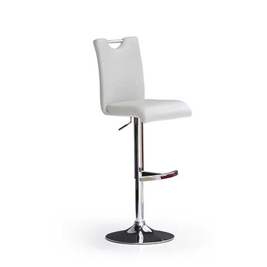 Bardo White Bar Stool In Faux Leather With Round Chrome Base