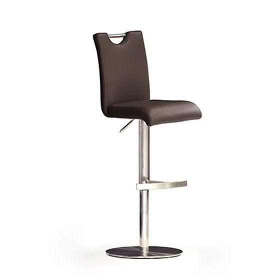 Bardo Brown Bar Stool In Faux Leather With Stainless Steel Base
