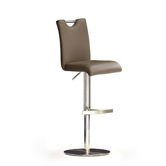 Bardo Cappuccino PU Leather Bar Stool With Stainless Steel Base