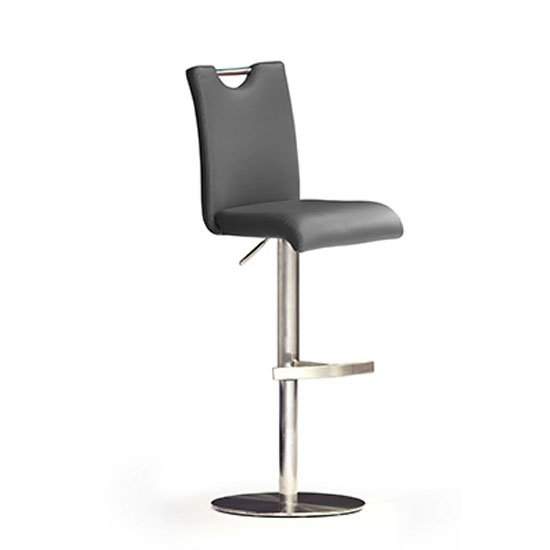 Bardo Grey Bar Stool In Faux Leather With Stainless Steel Base