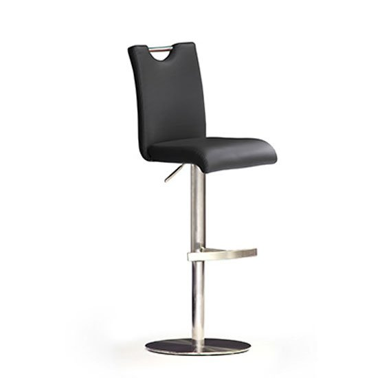 Bardo Black Bar Stool In Faux Leather With Stainless Steel Base