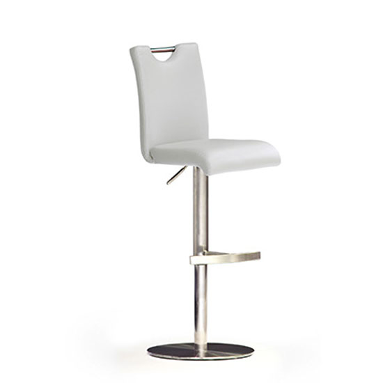 Bardo White Bar Stool In Faux Leather With Stainless Steel Base