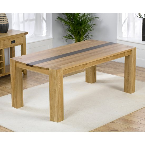 Beatrice Canadian Oak Dining Table with Walnut Strip