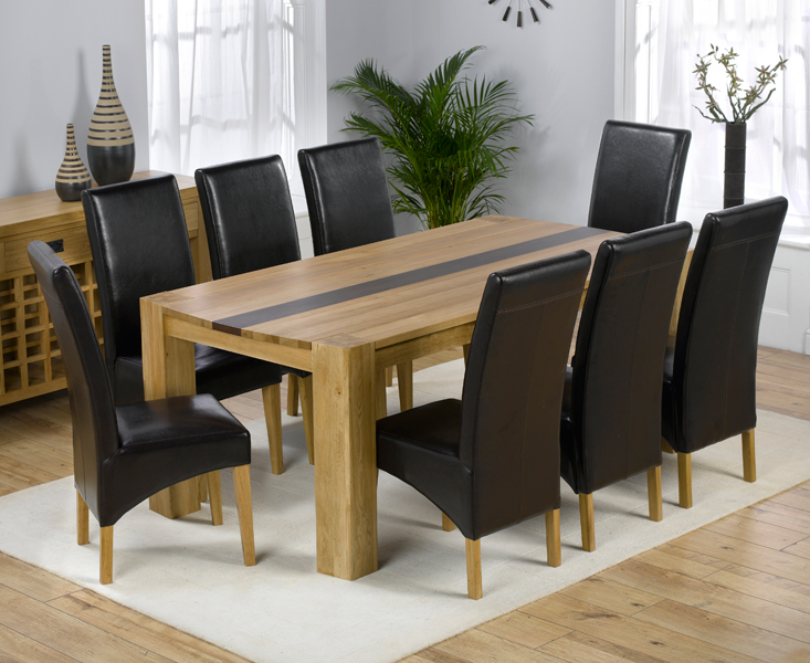 Beatrice Oak Dining Table With Walnut Strip And 8 Leather Chairs