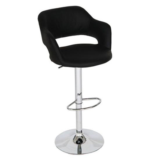 Leah Bar Stool In Black Faux Leather With Chrome Base