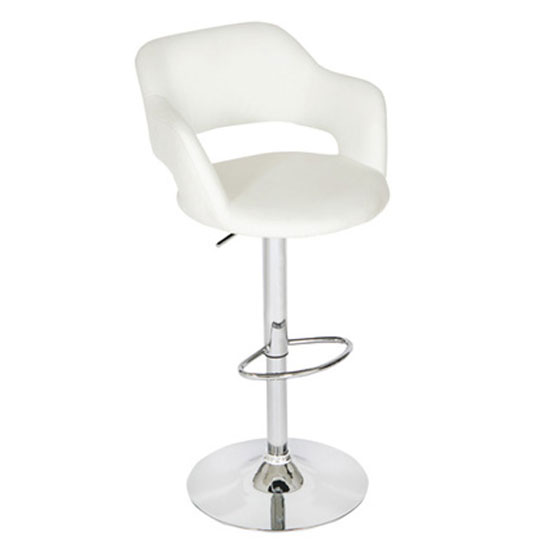 Leah Bar Stool In White Faux Leather With Chrome Base