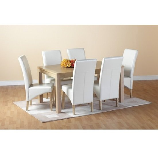 Belgrade Wooden Dining Set with 6 Dining Chairs In Cream