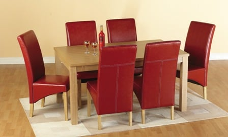 Belgrade Wooden Dining Set with 6 Dining Chairs In Red