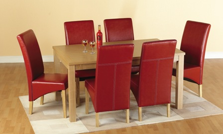 Delightful Belgrade Wooden Dining Set With 6 Chairs In Red 1577